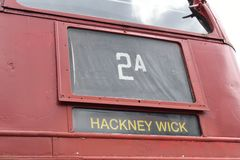 London Bus Destination Sign Royalty Free Stock Photo