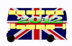 London bus Double Decker, Olympics 2012. Olympics 2012 and London bus with national flag of United Kingdom illustration - Double Decker stock illustration