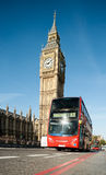 London bus in front of Big Ben Stock Photo