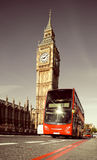 London bus in front of Big Ben Royalty Free Stock Photos