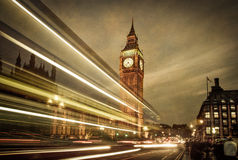London bus in front of Big Ben. Stock Photo