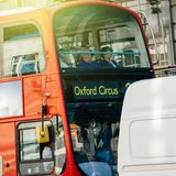London Bus going to Oxford Circus sunny day Stock Images