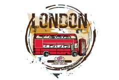London bus, London / England. City design. Hand drawn illustration stock illustration