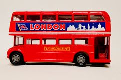 London Bus 1:43 model. A red Londo doubledecker bus model in 1:43 scale Royalty Free Stock Photo