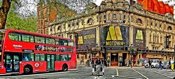 London-Bus Motown-streetlife London-Transport lizenzfreie stockfotografie