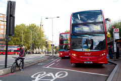 London bus. LONDON - OCTOBER 11TH: London buses at Waterloo station onOctober 11th, 2014 in London, England, uk. Traveling by bus is london cheapest mode of Royalty Free Stock Images