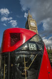 London bus passing Parliament Royalty Free Stock Image