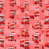 London-Bus-Pixel-Puzzlespiel-Hintergrund Stockfoto