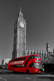 London Bus. Red London Bus in the city on a black and white photography Stock Image