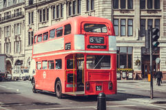 London Bus with retro filter applied Stock Photo