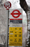London bus stop in the snow Royalty Free Stock Photo