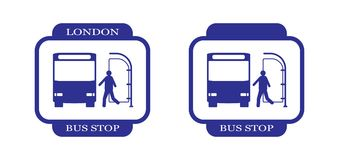 London Bus Stop-23. Symbolic image for a bus stop. You can use it with any other city name Stock Photography
