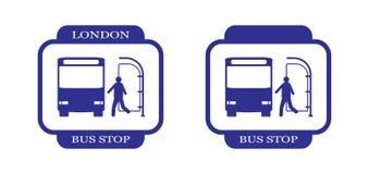 London-Bus Stopp-23 Stockfotografie