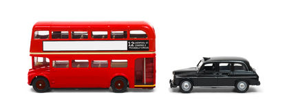 London bus and taxi. Red London bus and black taxi isolated on white stock photo