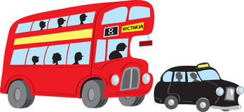 London bus and taxi Royalty Free Stock Photos