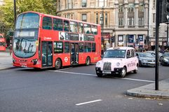 London bus and taxi. Royalty Free Stock Image