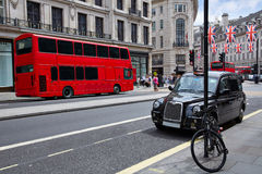 London bus and Taxi Regent Street W1 Royalty Free Stock Photo