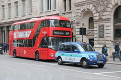 London bus and taxi Royalty Free Stock Photo