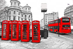 London bus and telephone boxes. UK. Royalty Free Stock Photos