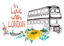 London bus with watercolor flowers Stock Photography