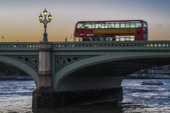 London Bus on Westminster Bridge Royalty Free Stock Photography