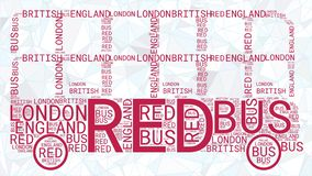 London Bus Word Cloud isolated on polygonal blue background royalty free illustration