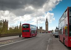 London Buses with Big Ben Royalty Free Stock Photos