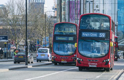London Buses on Waterloo Bridge London UK Royalty Free Stock Images