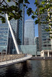 London Business Centre. A modern footbridge leading to the tower blocks if the business and financial district in London Royalty Free Stock Photography