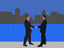 London business meeting. Business men meeting with handshake and London skyline Royalty Free Stock Image