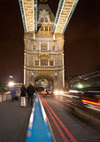 London cabs on Tower Bridge Royalty Free Stock Photos