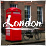 London calligraphy sign on blurred background Stock Images