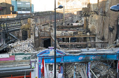 London Camden Market Fire. Market stalls and buildings ravaged by the blaze on February 2008 Royalty Free Stock Photos