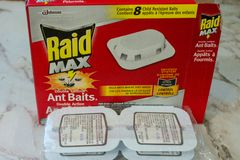 London Canada, April 20 2019: Editorial illustrative photo of raid ant traps ready to be set up. As it warms up ants are royalty free stock photos