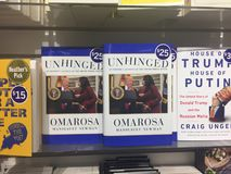 London Canada, August 17: book shelf displaying the new book by omarosa called unhinged about Donald trump. New book about Donald trump wrote by omarosa stock photography