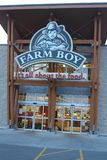 London, Canada - May 05 2018: The exterior of Farmboys Supermarket, Ontario. Farm Boy is a Canadian food retailer. London, Canada - May 05 2018: The interior of stock photos