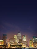 London, Canary Wharf business and banking district night lights Royalty Free Stock Image