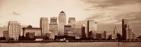 London Canary Wharf. Canary Wharf business district in London black and white Royalty Free Stock Image