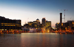 London, Canary Wharf business district in dusk Stock Image