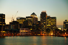 London, Canary Wharf business district in dusk Royalty Free Stock Photos