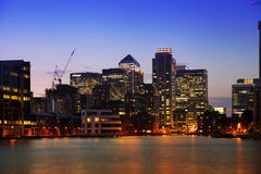 London, Canary Wharf business district in dusk Royalty Free Stock Images