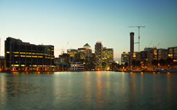 London, Canary Wharf business district in dusk Royalty Free Stock Photo