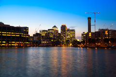 London, Canary Wharf business district in dusk Royalty Free Stock Image