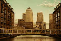 London Canary Wharf. Canary Wharf business district in London at sunset Royalty Free Stock Photography