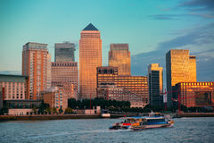 London Canary Wharf. Canary Wharf business district in London at sunset Stock Photography