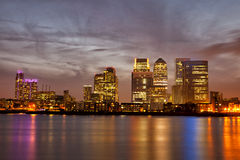 London Canary Wharf cityscape at night Royalty Free Stock Photo