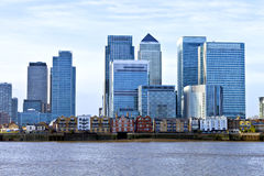 London Canary Wharf cityscape over Thames River Royalty Free Stock Photo