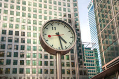 London, Canary Wharf and clock Royalty Free Stock Image