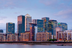 london Canary wharf at dusk view from thames river Royalty Free Stock Photo
