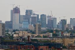 Panorama of Canary Wharf in London  - skyscrapers Stock Photography
